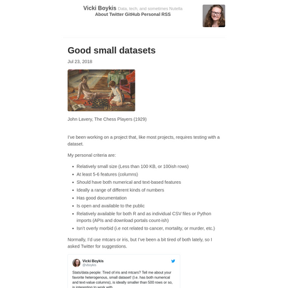 Good small datasets