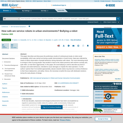 How safe are service robots in urban environments? Bullying a robot - IEEE Conference Publication