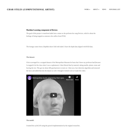 Machine Learning component of Devices - Char Stiles (Computational Artist)