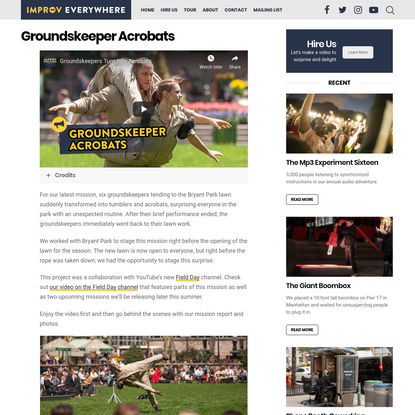 Groundskeeper Acrobats - Improv Everywhere