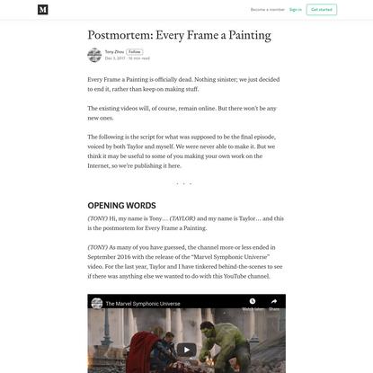 Postmortem: Every Frame a Painting - Tony Zhou - Medium