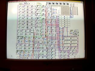 Figure 1. La lyre publicitaire (programme réalisé avec le logiciel Eyesweb pour l'installation) (BOILLOT N., 2003)