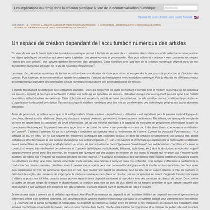 (FR) Un espace de création dépendant de l'acculturation numérique des artistes