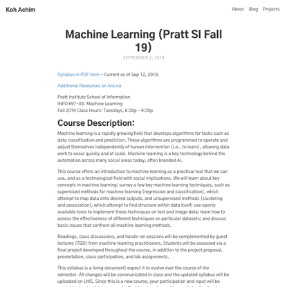 Machine Learning (Pratt SI Fall 19)