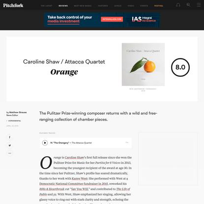 Caroline Shaw / Attacca Quartet: Orange