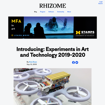 Introducing: Experiments in Art and Technology 2019-2020