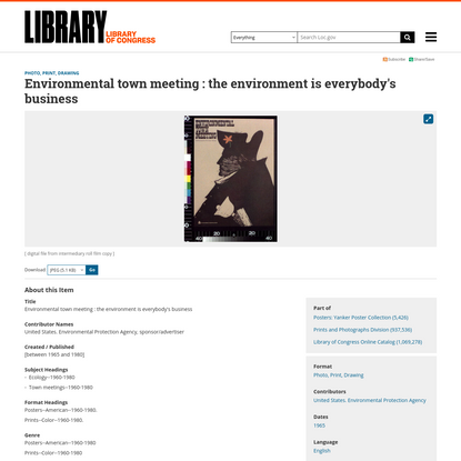 Environmental town meeting : the environment is everybody's business