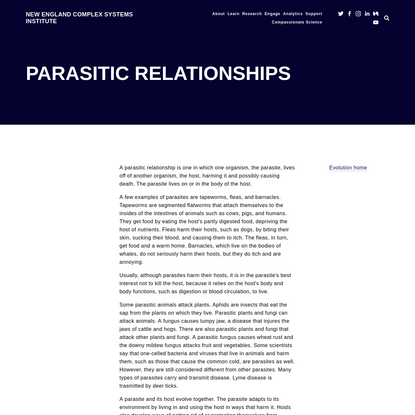 Parasitic Relationships - New England Complex Systems Institute