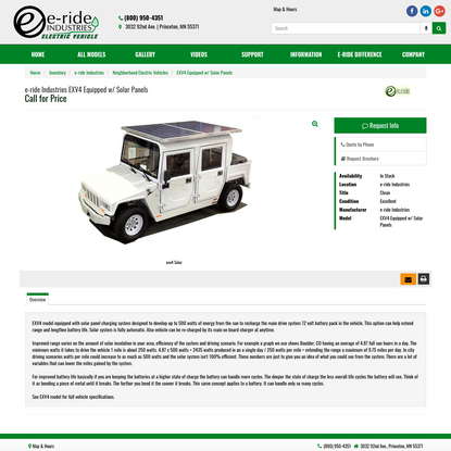 e-ride Industries EXV4 Equipped w/ Solar Panels