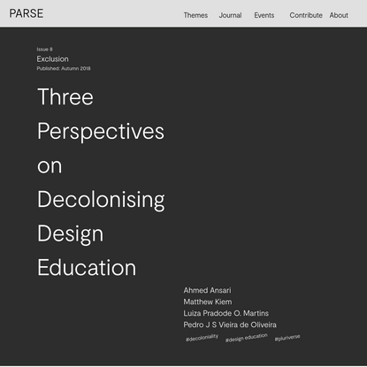 Three Perspectives on Decolonising Design Education