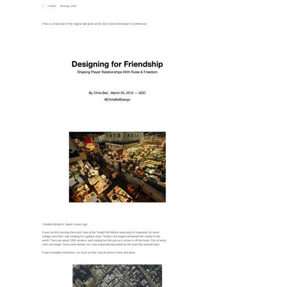 Designing For Friendship -