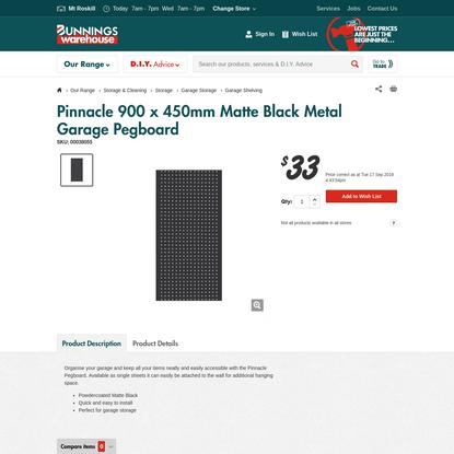 Pinnacle 900 x 450mm Matte Black Metal Garage Pegboard
