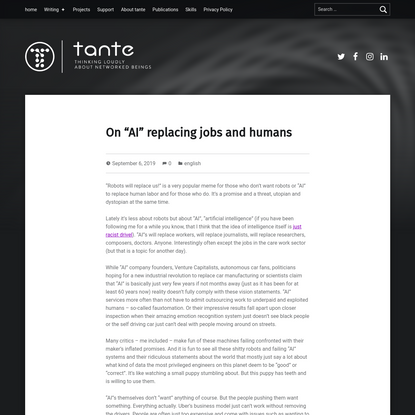"""On """"AI"""" replacing jobs and humans"""