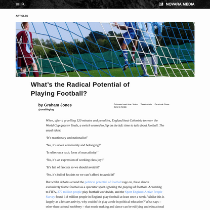 What's the Radical Potential of Playing Football?   Novara Media