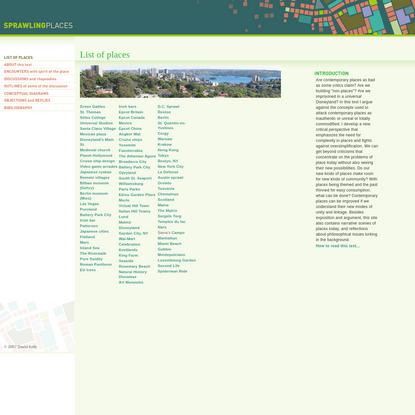 Sprawling Places | Index