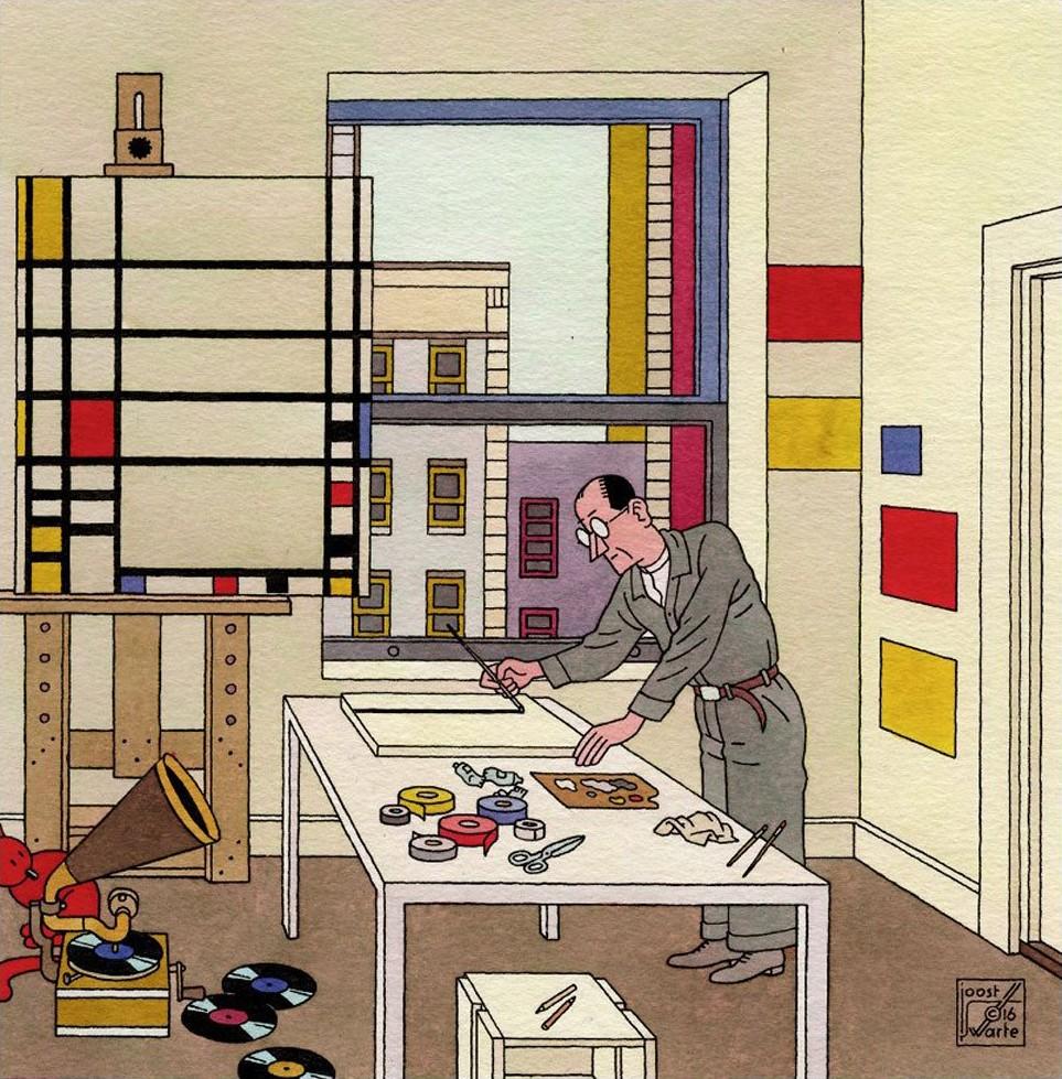 Joost Swarte, Piet Mondrian from 'En Toen De Stijl' ('And Then De Stijl'), 2016 - 2018