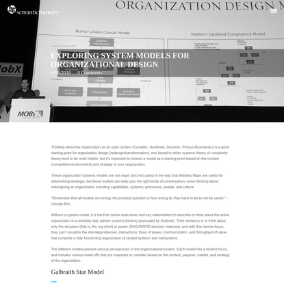 Exploring System Models for Organizational Design