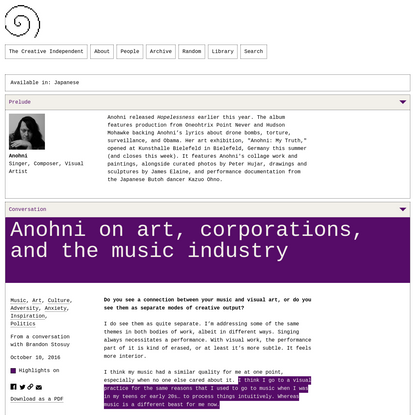 Anohni on Art, Corporations, and the Music Industry
