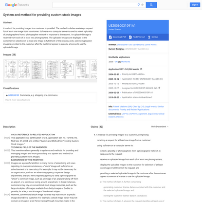 US20060031091A1 - System and method for providing custom stock images - Google Patents