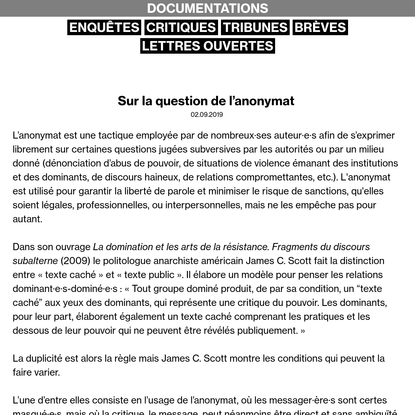 Sur la question de l'anonymat - DOCUMENTATIONS