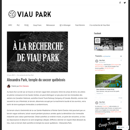Alexandra Park, temple du soccer québécois