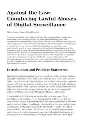 Against the Law:Countering Lawful Abusesof Digital Surveillance - Andrew 'bunnie' Huang, Edward Snowden