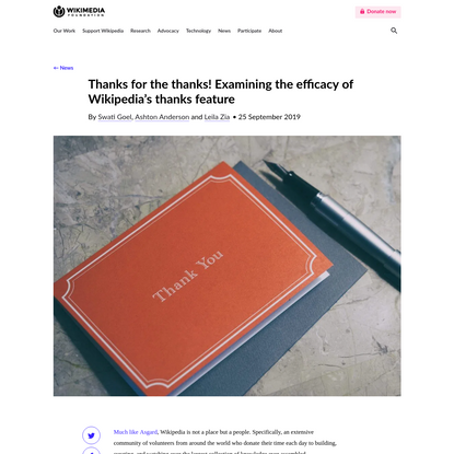Thanks for the thanks! Examining the efficacy of Wikipedia's thanks feature