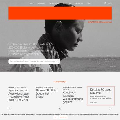 KUNSTFORUM International - Die Zeitschrift für alle Bereiche der bildenden Kunst