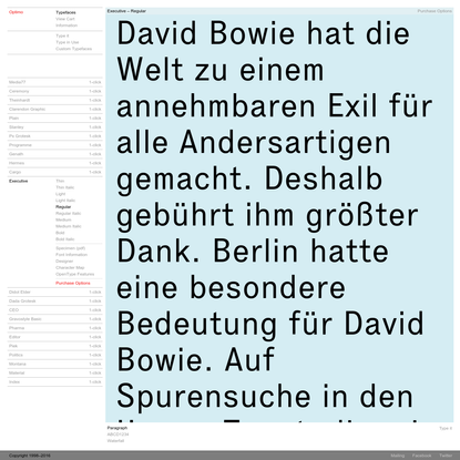 Optimo Type Foundry Typefaces - Executive - Regular
