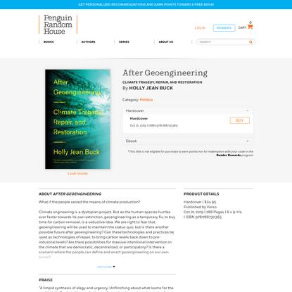 After Geoengineering by Holly Jean Buck: 9781788730365   PenguinRandomHouse.com: Books