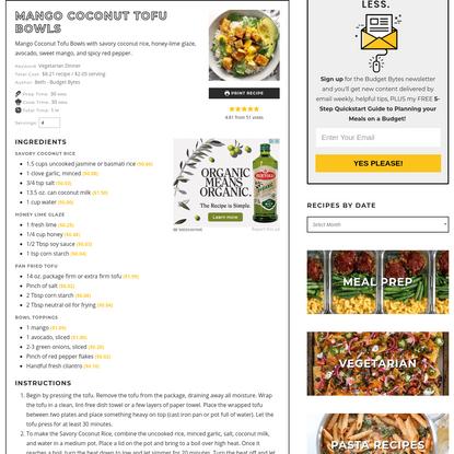 Mango Coconut Tofu Bowls - Fresh Summer Flavors - Budget Bytes