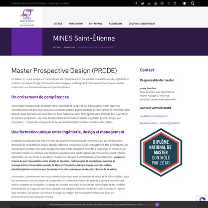 Master Prospective Design (PRODE) - École des Mines de Saint-Étienne