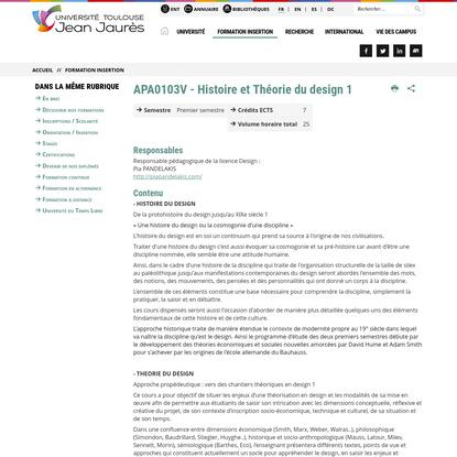 APA0103V - Histoire et Théorie du design 1