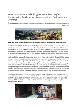 Network shutdowns in Rohingya camps: how they're damaging the fragile information ecosystem of refugees from Myanmar