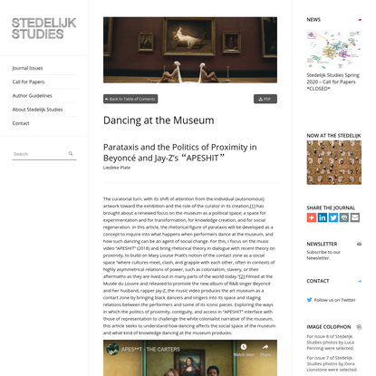 """Dancing at the Museum: Parataxis and the Politics of Proximity in Beyoncé and Jay-Z's """"APESHIT"""" - Stedelijk Studies"""