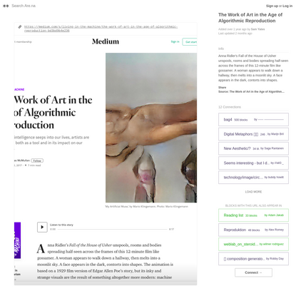 Are.na / The Work of Art in the Age of Algorithmic Reproduction