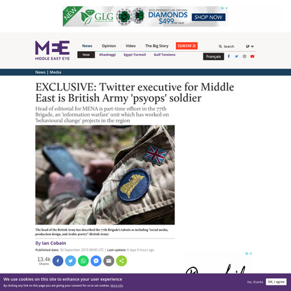 EXCLUSIVE: Twitter executive for Middle East is British Army 'psyops' soldier