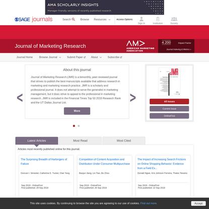 Journal of Marketing Research: SAGE Journals