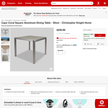 Cape Coral Square Aluminum Dining Table - Silver - Christopher Knight Home