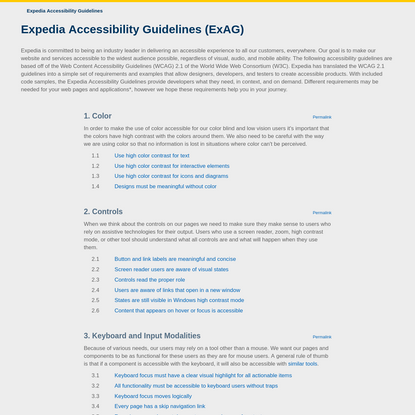 Expedia Accessibility Guidelines (ExAG)