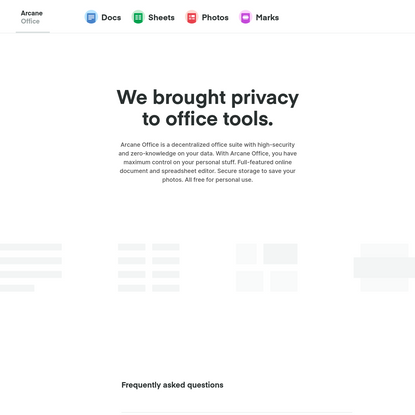 Arcane Office - Blockchain-based private online office suite.