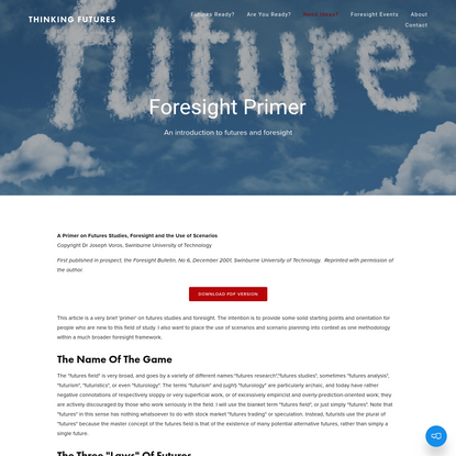 Foresight Primer - Thinking Futures