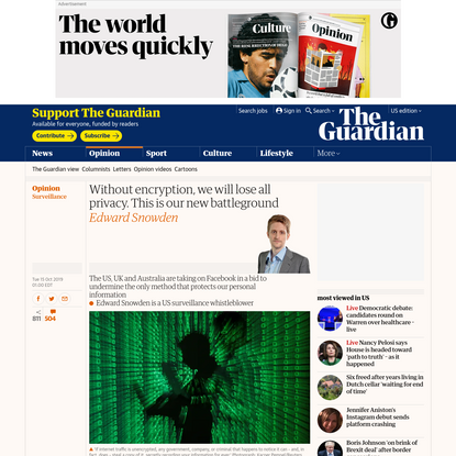 Without encryption we will lose all privacy. This is our new battleground | Edward Snowden