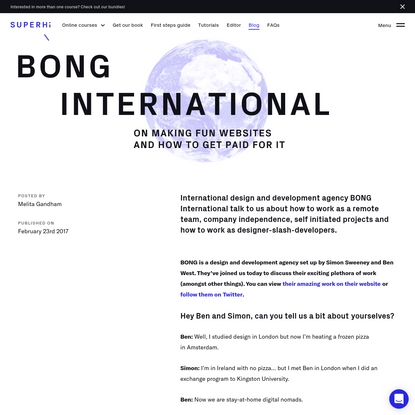 BONG International on making fun websites and how to get paid for it