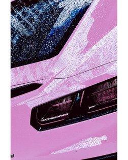 Pouring in the rain . . #photography #car #minimalcar #rain #pink #sanfrancisco #california