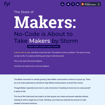 The State of Makers: No Code is About to Take Makers by Storm