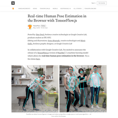 Real-time Human Pose Estimation in the Browser with TensorFlow.js