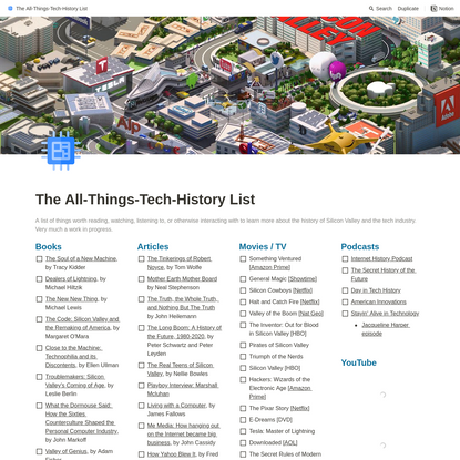 The All-Things-Tech-History List