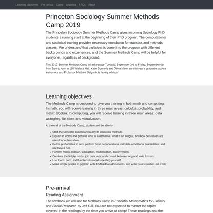 Methods Camp homepage