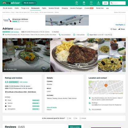 Adriano, Rio de Janeiro - Botafogo - Restaurant Reviews, Photos & Phone Number - TripAdvisor